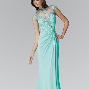 Short Sleeve Illusion Neck Long Dress Dress GL2011